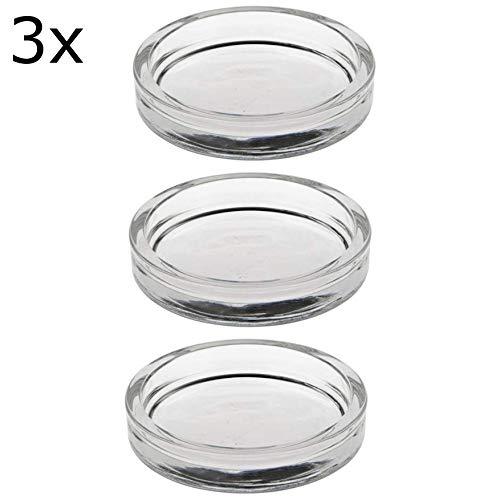 3 x - Kerzenhalter für Stumpenkerzen, Glas rund Ø 100 mm 20 mm glasklar (3er Set)