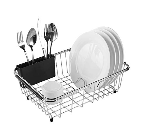 Adjustable Over Sink Dish Rack Stainless Steel Dish Drying Rack On Counter or in Sink, Rustproof