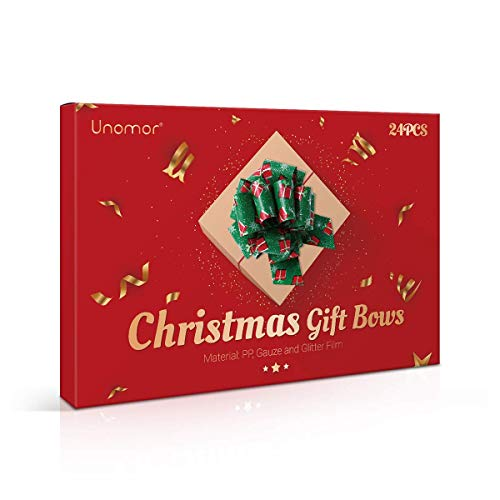 UNOMOR Christmas Gift Pull Bows, 24PCS Different Patterns Present Wrapping Bows for Christmas Holiday Decoration