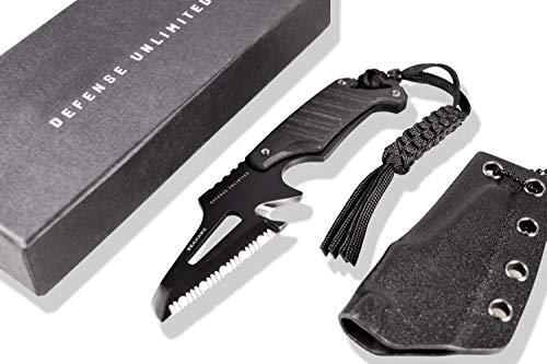Security-Discount Germany Rescue Messer, Neck Knife mit G10-Griff, im Set mit PRODEF® Rettungspfeife