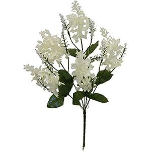 Silk Flower Arrangements Floral Décor Supplies for 5 Cream Lilac Flowers Silk Wedding Bouquet Centerpiece Decorations Crafts Fake for DIY Flower Arrangement Decorations