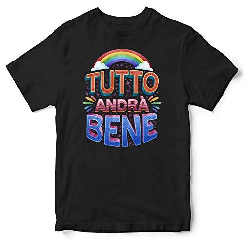 Publiassia Stamperia Andrà Tutto Bene T- Shirt 4N Idea Regalo Maglia Maglietta Autocertificazione Covid 19 Coronavirus pandemia Quarantena 2020#Andràtuttobene #Restiamoacasa (XL)