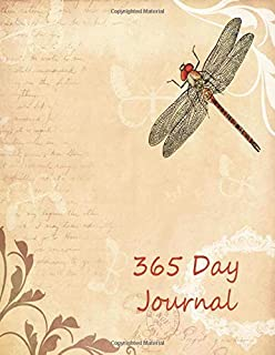 365 Day Journal: Daily diary notebook for 1 Year, large size paperback book features cream colored lined interior paper.  Vintage parchment theme on cover with dragonfly and paisley flowers.