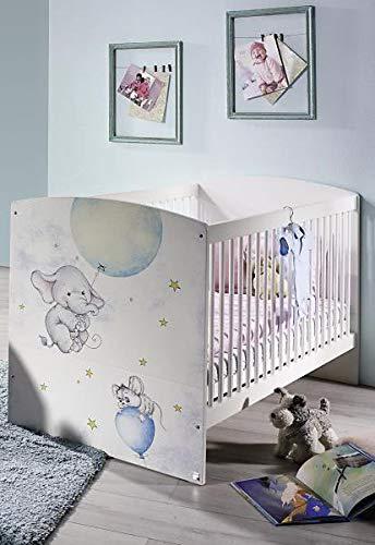 RASANTI 70x140 Babybett höhenverstellbar inkl. Lattenrost Jemma von Rauch Packs Alpinweiß/Print