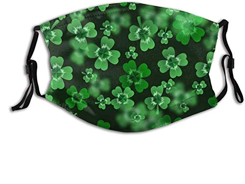 Funny Easter St Patricks Day Face Mask, Comfortable Clover Balaclava For Adults, Adjustable For Windproof & Warmth.-Clover Leaves Background for Saint Made in usa