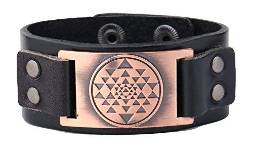 My Shape Viking Vintage Sri Yantra Meditación Charms Brazalete de cuero Amuleto Tailsman Joyería (cobre antiguo, negro)