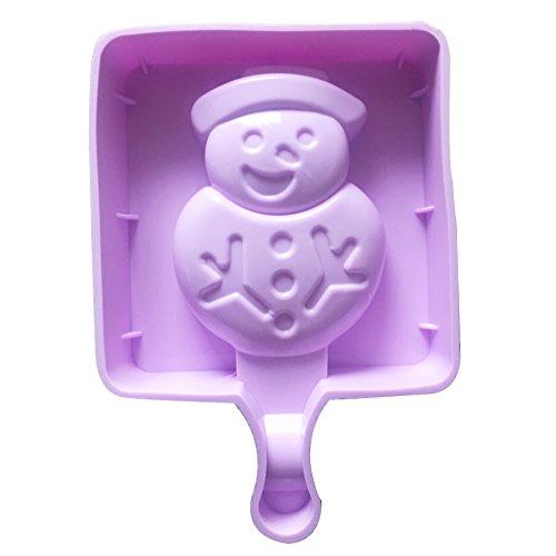 Qearly Mignon Petit Moules Silicone Ice Cream Pop Moules à Crème-Un Morceau de Bonhomme de Neige