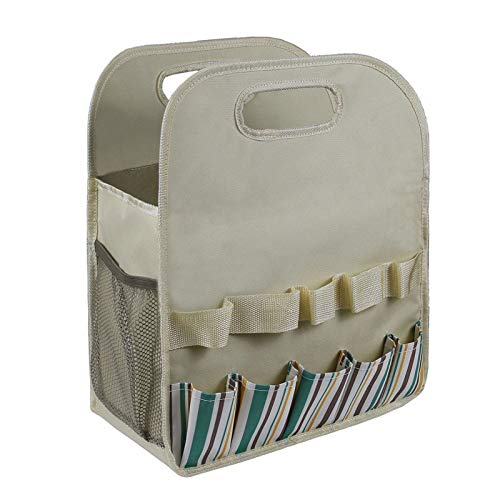 negaor Bolsa de la compra de jardín, bolsa de herramientas de jardinería con tablero de polietileno resistente, bolsa de almacenamiento para herramientas de jardín y organizador de hogar con bolsillos