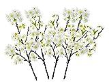 Ymwenj Fleur Artificielle Dix Ensembles De Jet De Fleurs De Cerisier Waterloo De 4 Tiges De Cerisier Blanc De Fabrication Individuelle, Hauteur De 18'