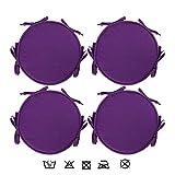 LXXTI Cojín para Silla con Cintas para Interior Y Exterior, 38X38 Cm Cojín Redondo De Asiento con Cintas De Sujetación, para Muebles De Jardin, Terraza, Set De 4,Púrpura