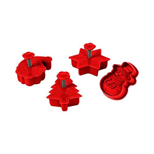 Motiv-Plätzchenausstecher 3D, 4 Teile, Keksausstecher, Plätzchen, Ausstechformen Set, Kinder, Weihnachten, Kekse, Tortendeko, Backzubehör