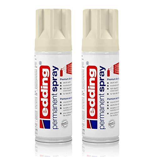 2x edding Permanent Spray cremeweiß matt 200 ml Premium Acryllack, RAL 9001