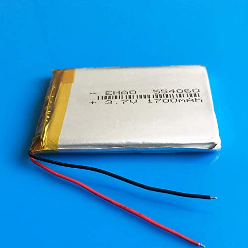 Jujupasg 3,7 V 1700 mAh Lipo-Lithium-Polymer-Li-Ionen-Akku für MP3 GPS Navigator DVD-Recorder Headset E-Book-Kamera 554060
