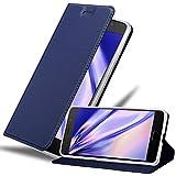 Cadorabo Hülle für Lenovo P2 - Hülle in DUNKEL BLAU – Handyhülle mit Standfunktion & Kartenfach im Metallic Erscheinungsbild - Case Cover Schutzhülle Etui Tasche Book Klapp Style