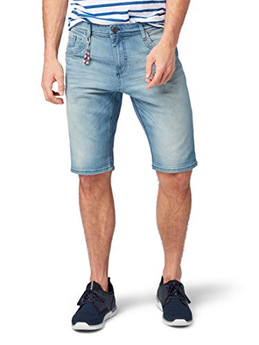 TOM TAILOR Herren Shorts, Blau (Light Stone Wash Den), 38