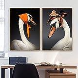 tzxdbh Minimalisme nordique Blanc cygne mur Toile peinture nordique Affiches et Impressions animaux mur Photos pour Salon décor à la Maison