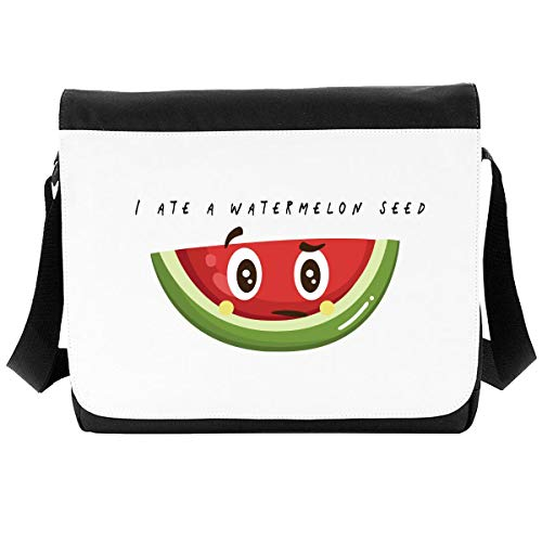 I Ate A Watermelon Seed Fruit and Vegetable (with face) Pun Jokes Crossbody Strap Shoulder Bag - Large