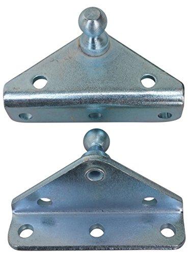 Angled Lift Support Bracket Outside Mount - Zinc Plated 10 Gauge Steel - 10mm Ball Stud - Gas Shock Mounting - Lid Strut Prop Spring Mount