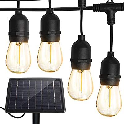 Solar String Lights Outdoor with 16pcs Shatterproof Bulbs,-50Ft Vintage Edison Bulbs Commercial Grade Weatherproof Strand - ETL Listed Heavy-Duty Decorative LED for Patio,Backyard,Porch,Garden