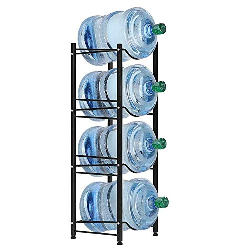 Water Cooler Jug Rack 4-Tier Heavy Duty Water Bottle Holder Storage Rack for 5 Gallon Water Dispenser Save Space Black