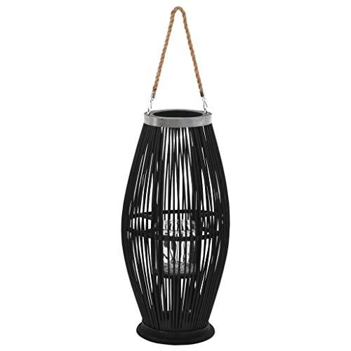 vidaXL Kerzenhalter Hängend Bambus Schwarz Kerzenständer Laterne Gartendeko