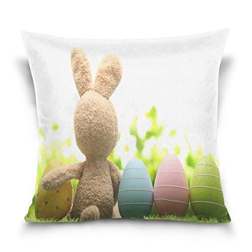 ALAZA poupée Lapin avec œufs de Pâques Peinture carré Coton Housse de Coussin Throw Taille Taie d'oreiller Canapé Chambre à Coucher Home Decor Bon Cadeau pour Pâques 40,6 x 40,6 cm, Coton, 41 x 41 cm