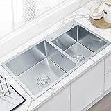 Fregadero Cocina Kitchen Sink Fregaderos Fregadero de cocina de acero inoxidable 304 de la inserción fregadero doble tazón 2.0 Tazón cocina Fregadero con filtro Escurrir la cesta ( Size : 750*410mm )