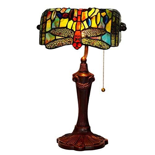 SPNEC Lámpara Antigua de la lámpara de Mesa del vitral de la libélula for el Dormitorio, al Lado, Sitio del Estudio, Metal