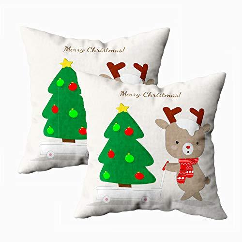 Papercranes Halloween Christmas Pillow Case 18X18 2Pc Decoration Pillow Case Sofa Cushion Holiday Decoration Cushion Cover,Carrying Chirstmas Tree