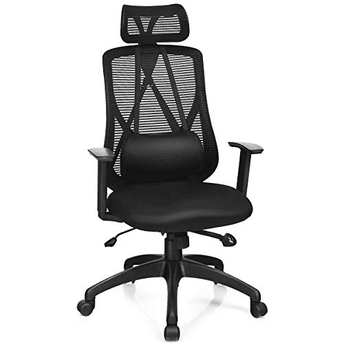 Giantex Mesh Office Chair, Ergonomic Computer Chair with Removable Lumbar Support, Adjustable Height Armrest Headrest Swivel Reclining Mesh High Back Office Chair(Black)
