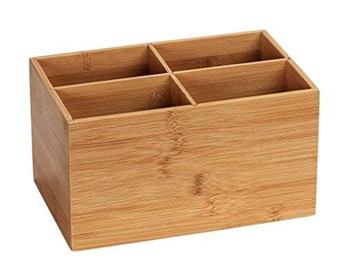 WENKO Caja de bambú Terra, 4 compartimentos - Caja de almacenaje, cesta para el baño, Bambú, 22 x 12 x 14 cm, Marrón
