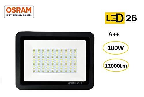 LED26® Foco LED exterior 150W OSRAM alto brillo Proyector LED exterior impermeable IP65 Luz Blanco frío 6500K patio, jardín, tienda