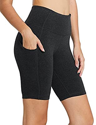 "BALEAF Women's 8"" High Waist Biker Workout Yoga Running Compression Exercise Shorts Side Pockets Charcoal Size L"