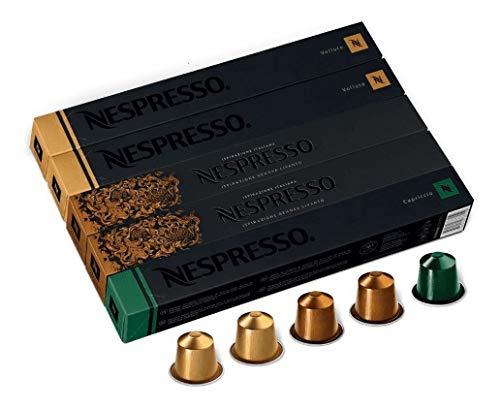NESPRESSO 50 cápsulas de café equilibrados, 3 sabores de café Espresso de uso único, adequado para uso com máquinas de fazer café NESPRESSO, cápsulas originais (equilibrados)