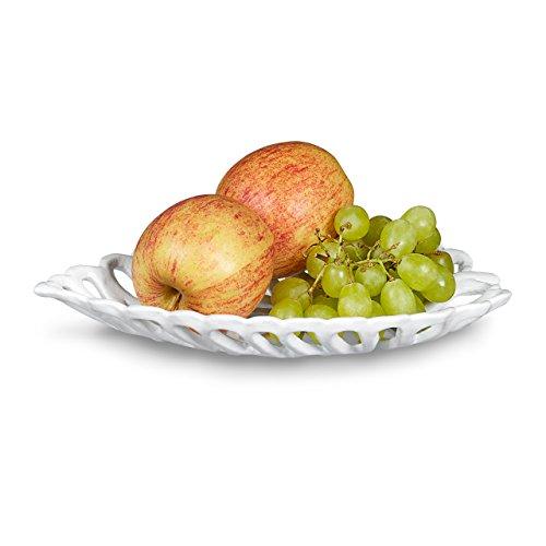 Relaxdays Fruttiera, portafrutta, Vassoio per Frutta in ghisa a Forma di Foglia Disponibile in 2 Diverse grandezze, Misure Hbt 3,5 x 15 x 26 cm