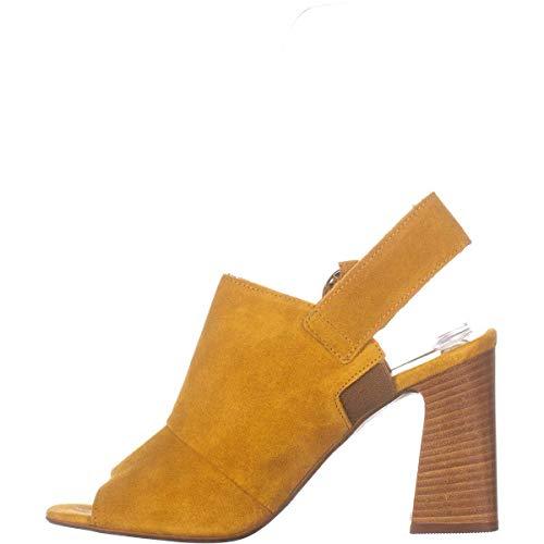 ALDO Women's Shoes Flalyan-91 Suede Peep Toe Casual Slingback, Mustard, Size 6.0