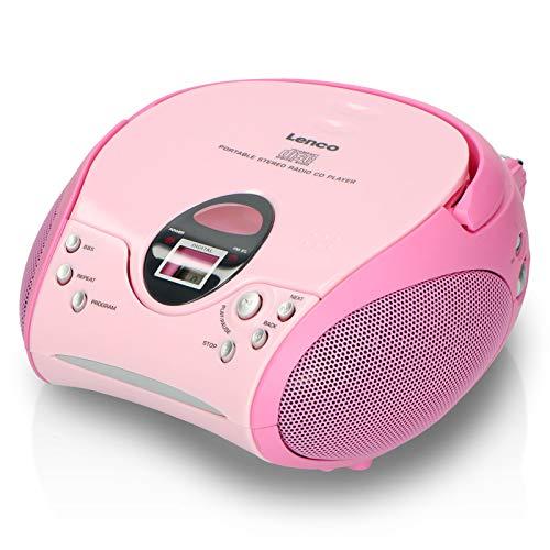 Lenco Radio Lecteur CD SCD-24 pour Enfant Chaîne Stéréo Prise Casque Aux in - Écran LCD - Batterie et Alimentation électrique - Rose