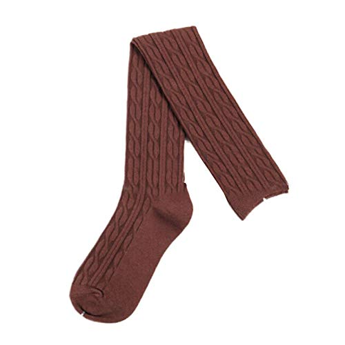 LIUCH SockenFrauen Baumwolle Wolle Geflecht ¨¹ber Knie Winter Warme Socken Oberschenkelstr¨¹mpfe Schlauch Aktien, Kaffee