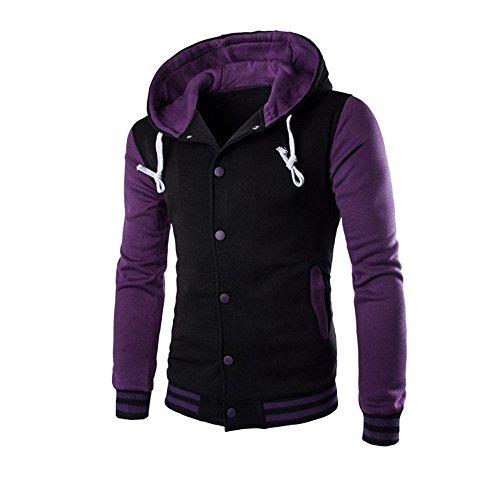 Men Coat Jacket Outwear Sweater Winter Slim Tops Hoodie Warm Hooded Sweatshirt Purple