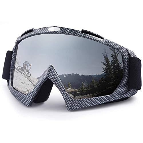 Fauge Gafas de Moto de, Gafas de Esquí de ProteccióN UV Ajustables Antiniebla con OTG, para Hombres, Mujeres y JóVenes, Fibra de Carbon