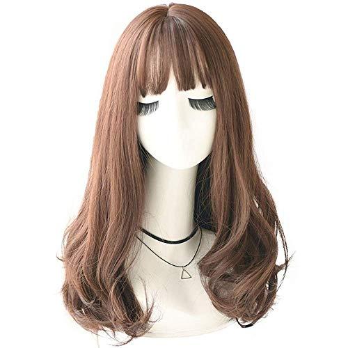 Toupets for Frauen Lolita synthetische Perücken Pony-Frisur for Frauen Lange tiefe Welle Cosplay natürliche Hitzebeständige Haar Cube Perücke Haare Perücke (Farbe: C8229 1, gestreckte Länge: 22inches)