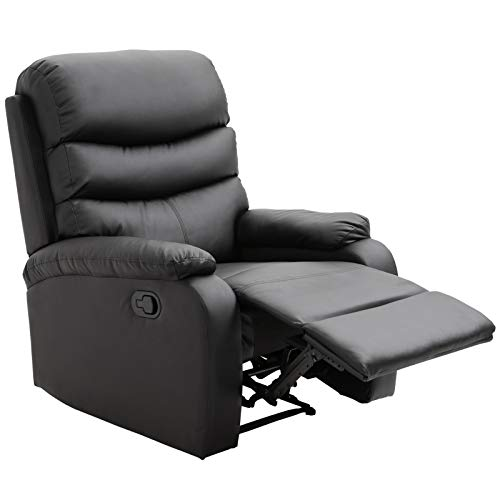 HOMCOM Single Recliner Sofa PU Leather Armchair Padded Armrest Reclining Cinema Chair Living Room Lounge (Black)