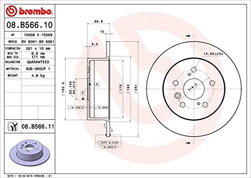 Brembo 08960614 Disco de Freno, Set de 2