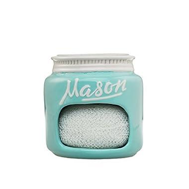Goodscious Mason Jar Ceramic Sponge Scrubber Holder Dishwasher and Microwave Safe (Blue)