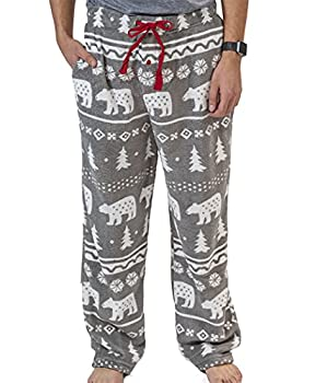 Lazy One Men s Fleece Pajama Pants Nordic Pajama Bottoms for Men Winter  Nordic Bear Medium