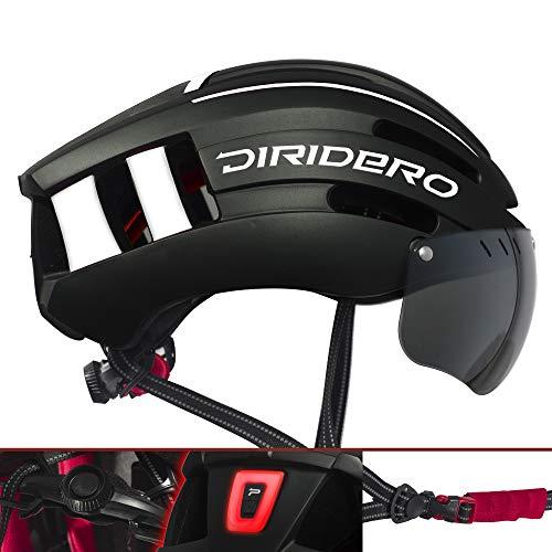 DIRIDERO Casco Bici Luce LED, Certificato CE, Casco con 2 Visiere Magnetiche Staccabile, Casco da Bici Super Leggero, Casco Integrale, MTB e Bicicletta Skateboarding Sci & Snowboard per Adulti