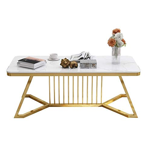 BHJqsy Modern rectangular coffee table, 39.3 inches, white marble, gold marble countertop wrought iron coffee table living room Nordic style table Nest Tables