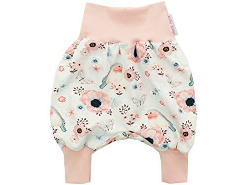 Kleine Könige Pantalon de pompage pour bébé Fille - Modèle Oiseaux de Fleurs - Blanc - Certifié Öko-Tex 100 - Tailles 50-128 - Blanc - 7/8 Ans