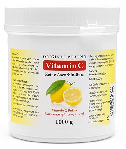 Vitamin C Pulver - Reine Ascorbinsäure - Apotheken Qualität 1 kg | 1 Dose mit 1.000g [Original-Pharno]