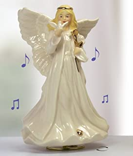 Sympathy Angel Revolving Music Box - Porcelain Angel Figurine Holding a Dove and Gold Rose - Plays Music: The Wind Beneath My Wings - Gift Boxed with Message -Condolence Memorial - 8 Inch High